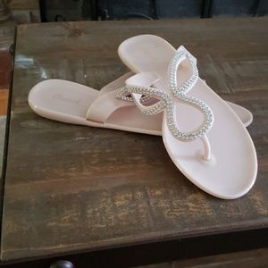 Pink jelly bling flops